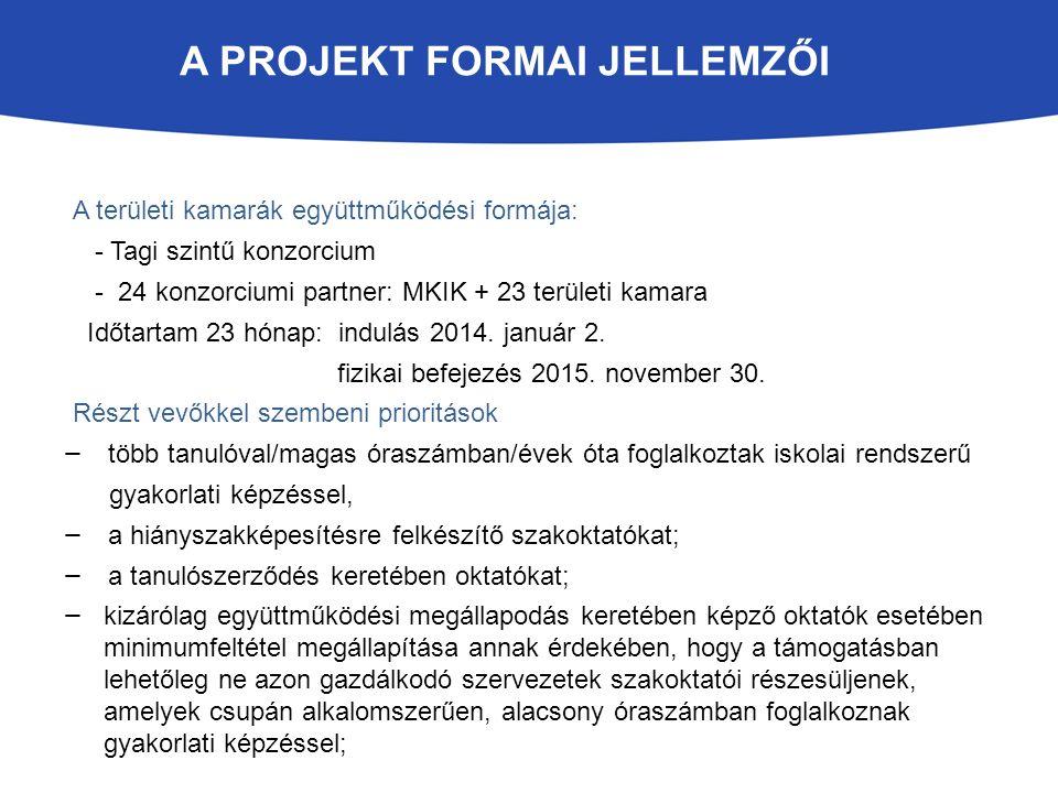 A PROJEKT FORMAI JELLEMZŐI A területi kamarák együttműködési formája: - Tagi szintű konzorcium - 24 konzorciumi partner: MKIK + 23 területi kamara Időtartam 23 hónap: indulás 2014.