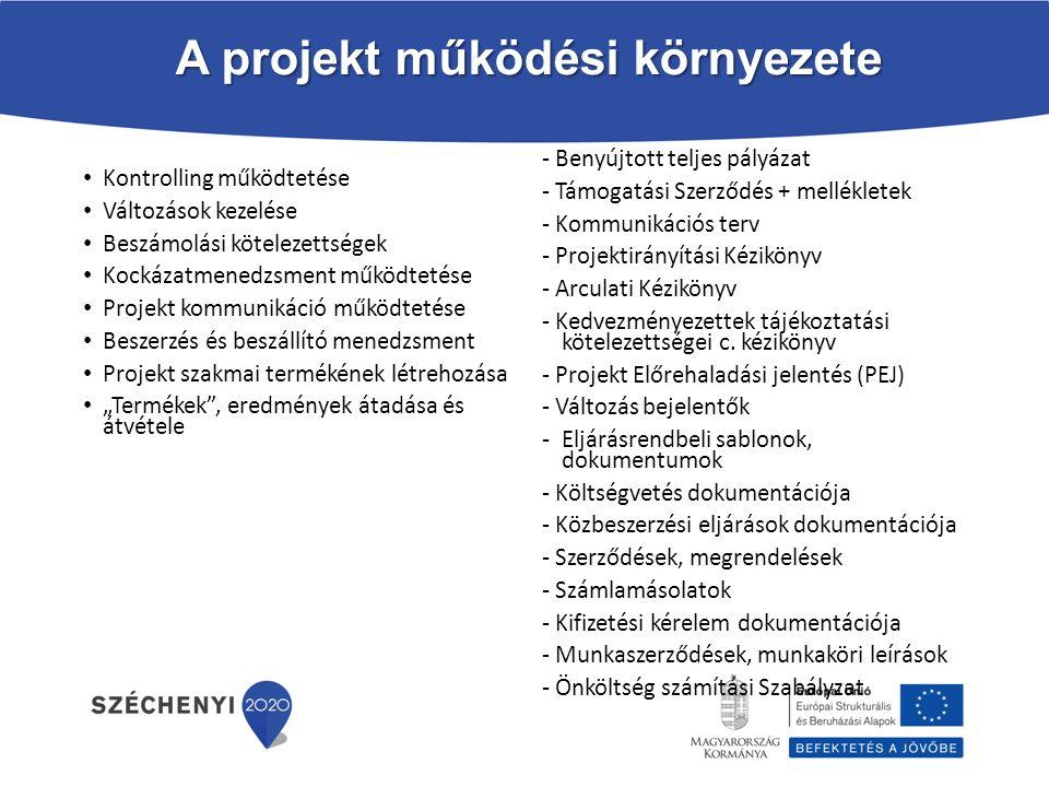 A projekt működési környezete Kontrolling működtetése Változások kezelése Beszámolási kötelezettségek Kockázatmenedzsment működtetése Projekt kommunik