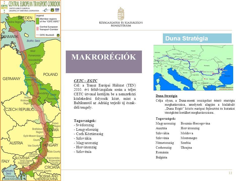 """11 MAKRORÉGIÓK Duna-Stratégia Célja olyan, a Duna-menti országokat érintő stratégia meghatározása, amelynek alapján a kialakuló """"Duna Régió közös európai fejlesztési és kutatási térségként kerülhet meghatározásra."""