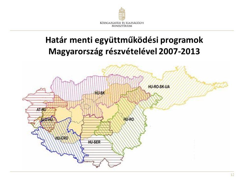 12 Határ menti együttműködési programok Magyarország részvételével 2007-2013