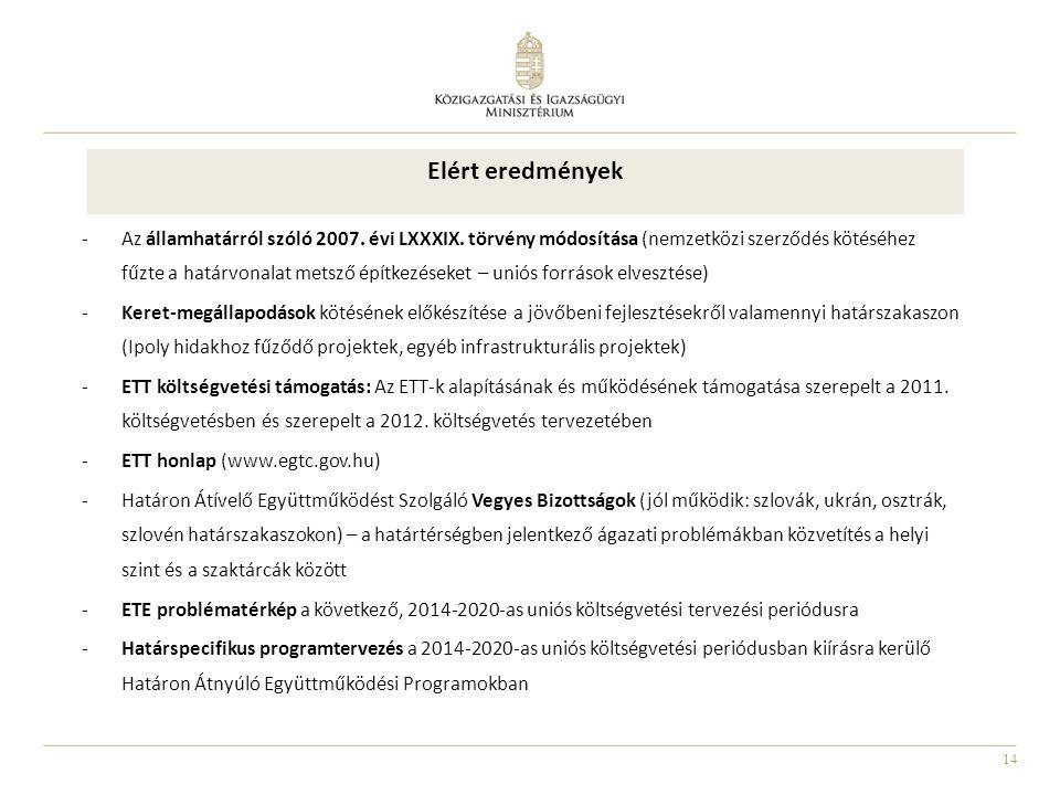 14 Elért eredmények -Az államhatárról szóló 2007.évi LXXXIX.