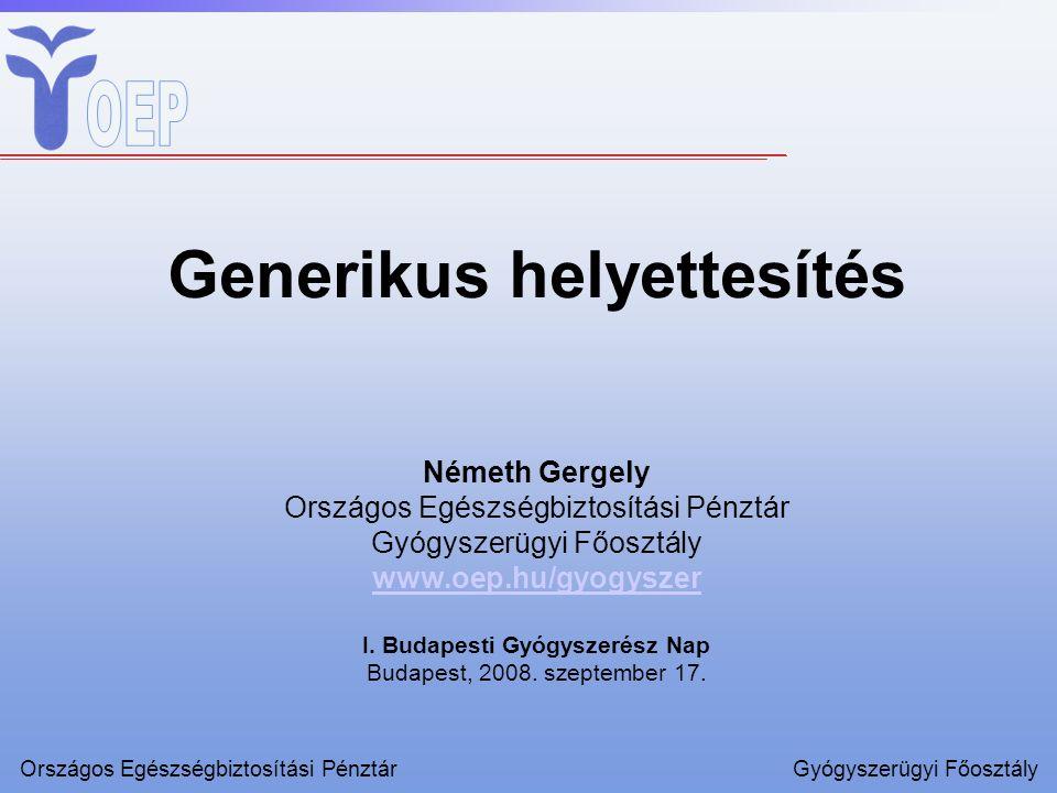 Az előadás felépítése –bevezetés – a generikus helyettesítés jelentősége –generikus helyettesítés ösztönzése –eredmények Országos Egészségbiztosítási PénztárGyógyszerügyi Főosztály