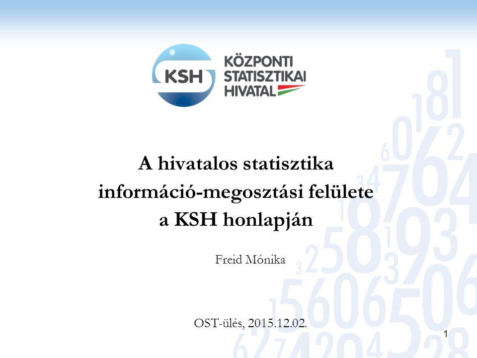 A hivatalos statisztika információ-megosztási felülete a KSH honlapján 1 Freid Mónika OST-ülés, 2015.12.02.