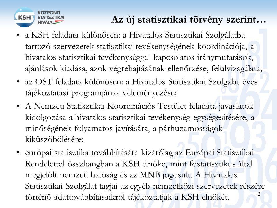Az új statisztikai törvény szerint… a KSH feladata különösen: a Hivatalos Statisztikai Szolgálatba tartozó szervezetek statisztikai tevékenységének ko