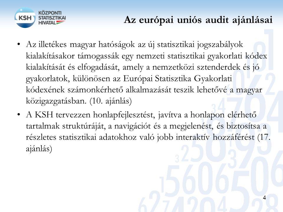 Az európai uniós audit ajánlásai A nemzeti statisztika gyakorlati kódexének elfogadása számos jótékony hatással bírna a KSH és a nemzeti statisztikai rendszer számára, többek között Speciális hazai rendelkezések beépítése a nemzeti statisztika gyakorlati kódexébe, melyek az NSR-t mint rendszert egységesebbé és koncentráltabbá teszik, mint például az információcserére vonatkozó eljárások, közös képzés és egymás kölcsönös támogatása, valamint – ami különösen fontos a felhasználók szemszögéből – egy minden szereplő által osztott megközelítés a fő statisztikai adatok publikálására egy közös felület révén.