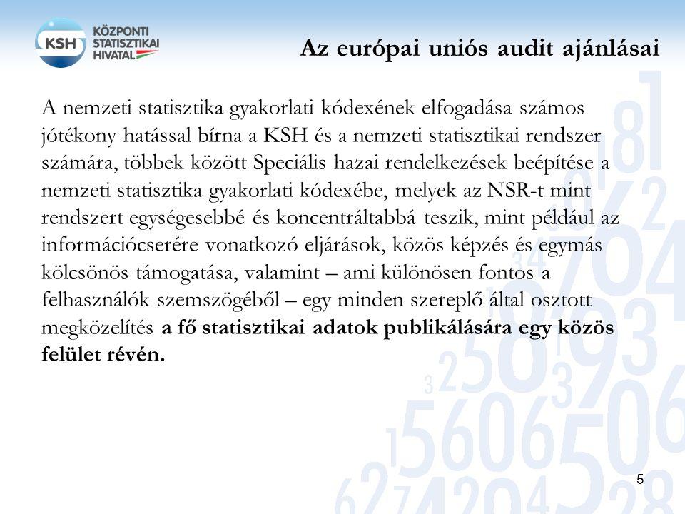 Az európai uniós audit ajánlásai A nemzeti statisztika gyakorlati kódexének elfogadása számos jótékony hatással bírna a KSH és a nemzeti statisztikai