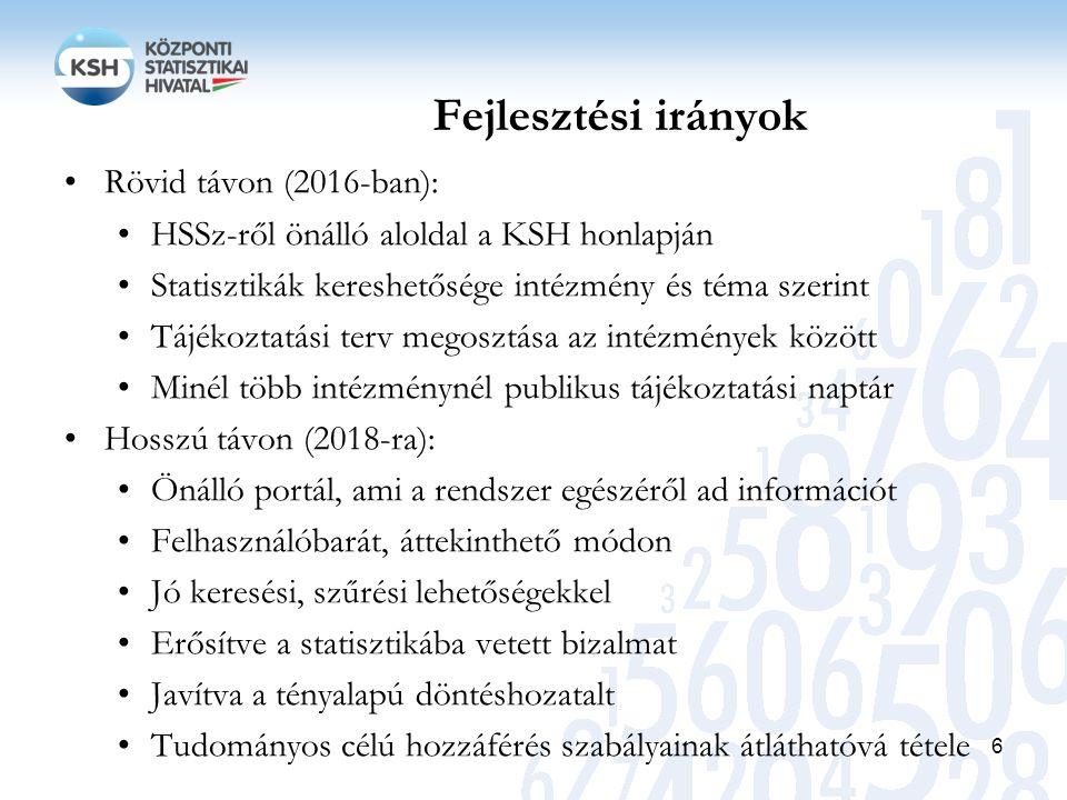 Fejlesztési irányok Rövid távon (2016-ban): HSSz-ről önálló aloldal a KSH honlapján Statisztikák kereshetősége intézmény és téma szerint Tájékoztatási terv megosztása az intézmények között Minél több intézménynél publikus tájékoztatási naptár Hosszú távon (2018-ra): Önálló portál, ami a rendszer egészéről ad információt Felhasználóbarát, áttekinthető módon Jó keresési, szűrési lehetőségekkel Erősítve a statisztikába vetett bizalmat Javítva a tényalapú döntéshozatalt Tudományos célú hozzáférés szabályainak átláthatóvá tétele 6