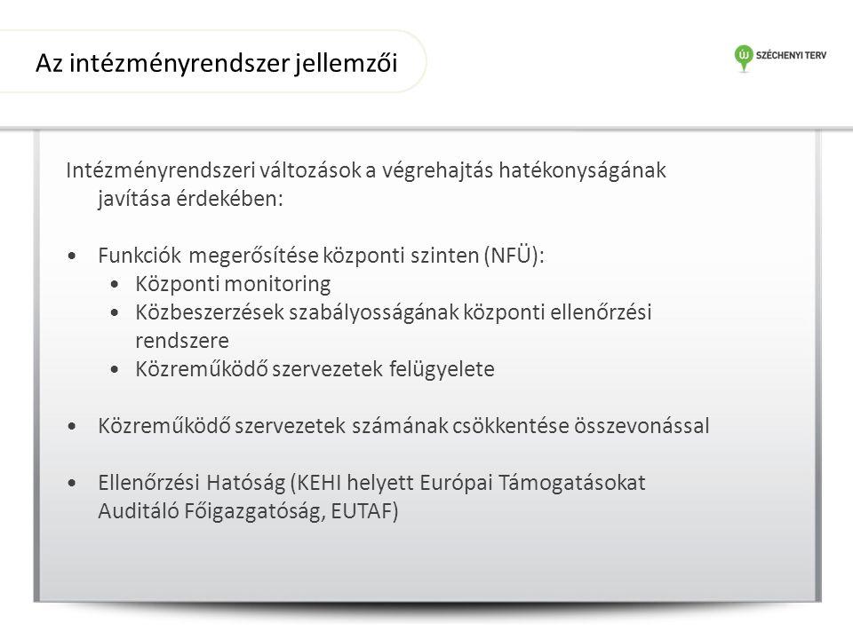 Intézményrendszeri változások a végrehajtás hatékonyságának javítása érdekében: Funkciók megerősítése központi szinten (NFÜ): Központi monitoring Közbeszerzések szabályosságának központi ellenőrzési rendszere Közreműködő szervezetek felügyelete Közreműködő szervezetek számának csökkentése összevonással Ellenőrzési Hatóság (KEHI helyett Európai Támogatásokat Auditáló Főigazgatóság, EUTAF) Az intézményrendszer jellemzői