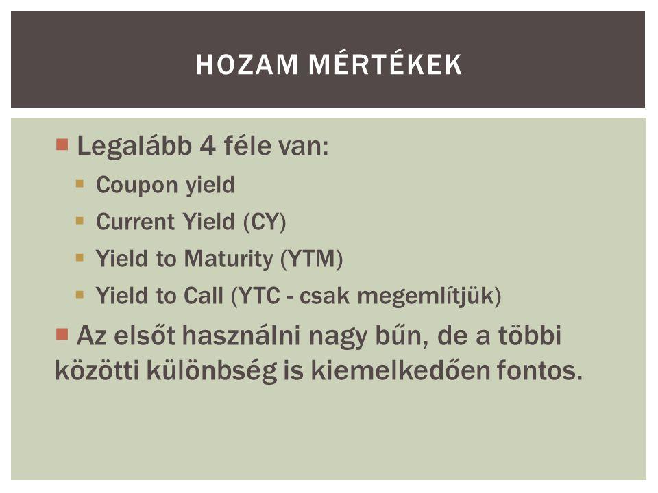 HOZAM MÉRTÉKEK  Legalább 4 féle van:  Coupon yield  Current Yield (CY)  Yield to Maturity (YTM)  Yield to Call (YTC - csak megemlítjük)  Az elsőt használni nagy bűn, de a többi közötti különbség is kiemelkedően fontos.