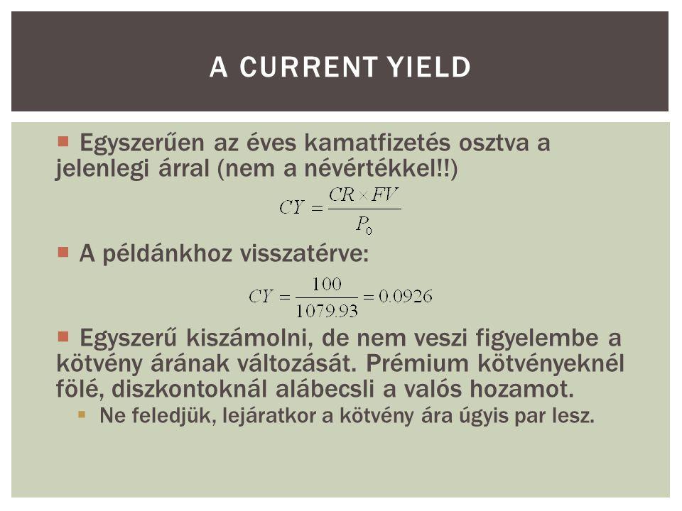 A CURRENT YIELD  Egyszerűen az éves kamatfizetés osztva a jelenlegi árral (nem a névértékkel!!)  A példánkhoz visszatérve:  Egyszerű kiszámolni, de nem veszi figyelembe a kötvény árának változását.