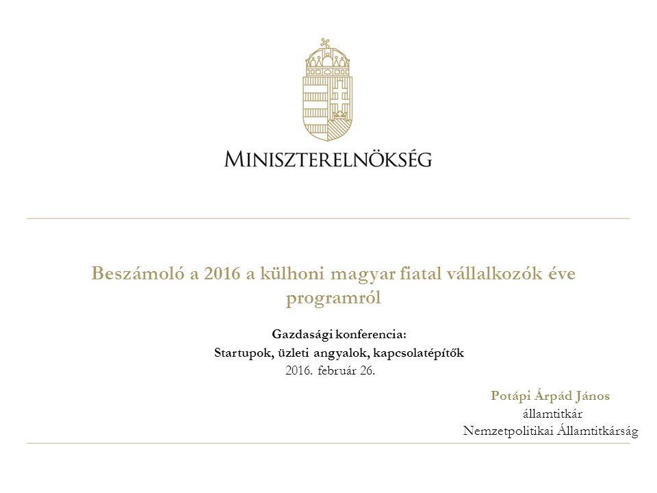 Beszámoló a 2016 a külhoni magyar fiatal vállalkozók éve programról Gazdasági konferencia: Startupok, üzleti angyalok, kapcsolatépítők 2016.