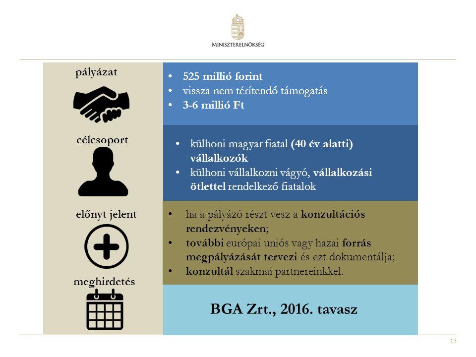 15 külhoni magyar fiatal (40 év alatti) vállalkozók külhoni vállalkozni vágyó, vállalkozási ötlettel rendelkező fiatalok pályázat célcsoport meghirdetés előnyt jelent 525 millió forint vissza nem térítendő támogatás 3-6 millió Ft ha a pályázó részt vesz a konzultációs rendezvényeken; további európai uniós vagy hazai forrás megpályázását tervezi és ezt dokumentálja; konzultál szakmai partnereinkkel.