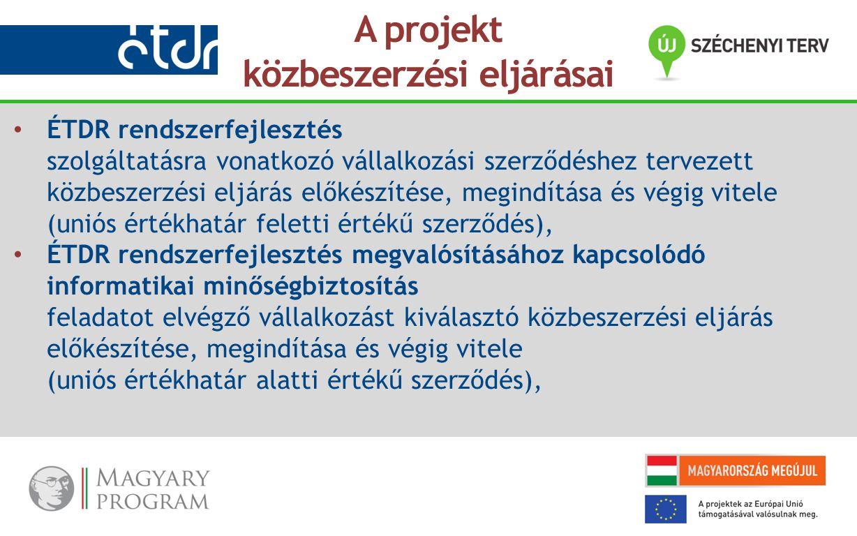 ÉTDR rendszerfejlesztés szolgáltatásra vonatkozó vállalkozási szerződéshez tervezett közbeszerzési eljárás előkészítése, megindítása és végig vitele (uniós értékhatár feletti értékű szerződés), ÉTDR rendszerfejlesztés megvalósításához kapcsolódó informatikai minőségbiztosítás feladatot elvégző vállalkozást kiválasztó közbeszerzési eljárás előkészítése, megindítása és végig vitele (uniós értékhatár alatti értékű szerződés), A projekt közbeszerzési eljárásai