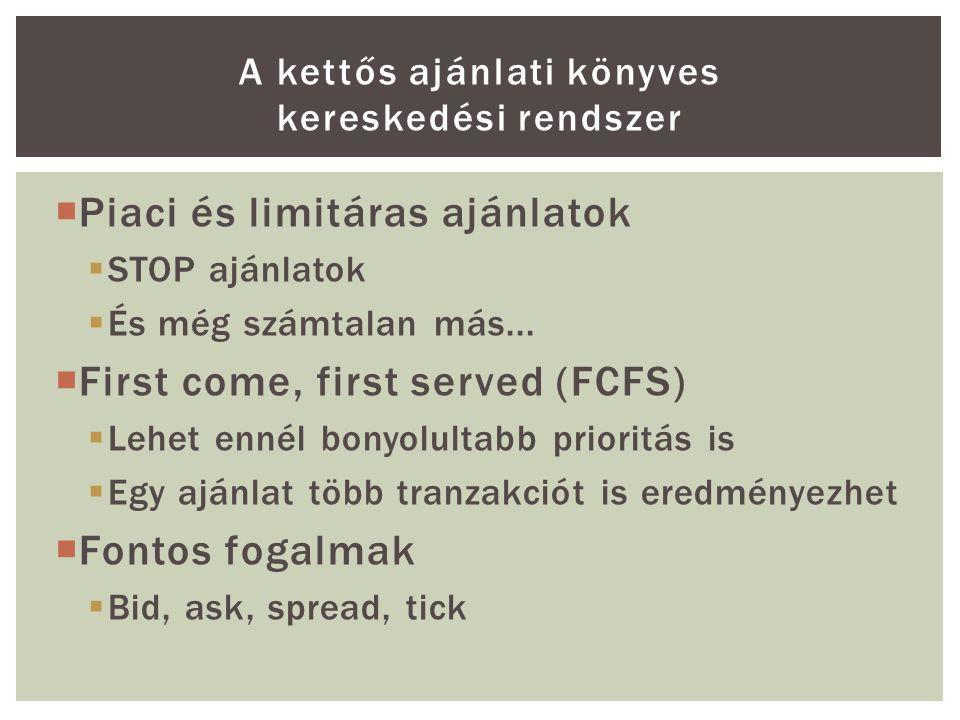  Piaci és limitáras ajánlatok  STOP ajánlatok  És még számtalan más...