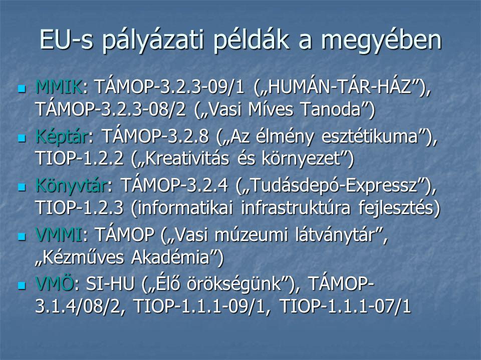 """EU-s pályázati példák a megyében MMIK: TÁMOP-3.2.3-09/1 (""""HUMÁN-TÁR-HÁZ ), TÁMOP-3.2.3-08/2 (""""Vasi Míves Tanoda ) MMIK: TÁMOP-3.2.3-09/1 (""""HUMÁN-TÁR-HÁZ ), TÁMOP-3.2.3-08/2 (""""Vasi Míves Tanoda ) Képtár: TÁMOP-3.2.8 (""""Az élmény esztétikuma ), TIOP-1.2.2 (""""Kreativitás és környezet ) Képtár: TÁMOP-3.2.8 (""""Az élmény esztétikuma ), TIOP-1.2.2 (""""Kreativitás és környezet ) Könyvtár: TÁMOP-3.2.4 (""""Tudásdepó-Expressz ), TIOP-1.2.3 (informatikai infrastruktúra fejlesztés) Könyvtár: TÁMOP-3.2.4 (""""Tudásdepó-Expressz ), TIOP-1.2.3 (informatikai infrastruktúra fejlesztés) VMMI: TÁMOP (""""Vasi múzeumi látványtár , """"Kézműves Akadémia ) VMMI: TÁMOP (""""Vasi múzeumi látványtár , """"Kézműves Akadémia ) VMÖ: SI-HU (""""Élő örökségünk ), TÁMOP- 3.1.4/08/2, TIOP-1.1.1-09/1, TIOP-1.1.1-07/1 VMÖ: SI-HU (""""Élő örökségünk ), TÁMOP- 3.1.4/08/2, TIOP-1.1.1-09/1, TIOP-1.1.1-07/1"""