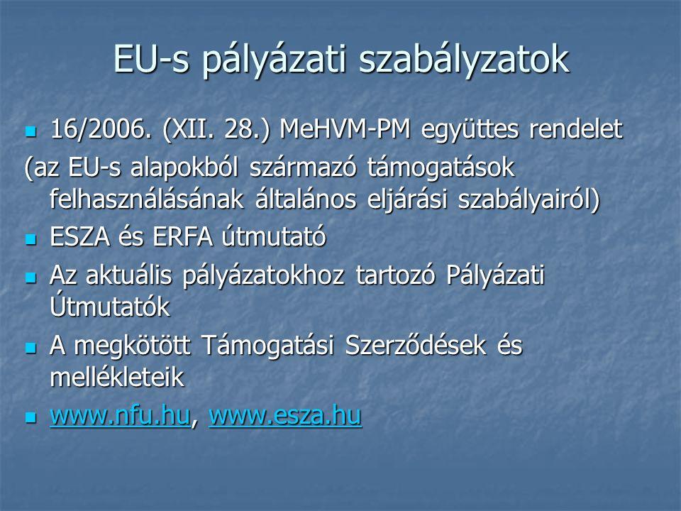 EU-s pályázati szabályzatok 16/2006. (XII. 28.) MeHVM-PM együttes rendelet 16/2006.