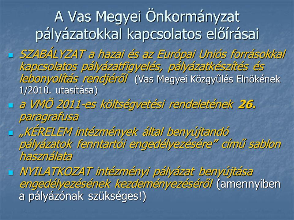 A Vas Megyei Önkormányzat pályázatokkal kapcsolatos előírásai SZABÁLYZAT a hazai és az Európai Uniós forrásokkal kapcsolatos pályázatfigyelés, pályázatkészítés és lebonyolítás rendjéről (Vas Megyei Közgyűlés Elnökének 1/2010.