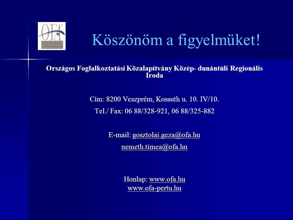 Országos Foglalkoztatási Közalapítvány Közép- dunántúli Regionális Iroda Cím: 8200 Veszprém, Kossuth u.