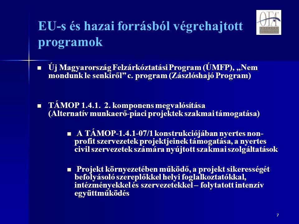 """7 EU-s és hazai forrásból végrehajtott programok Új Magyarország Felzárkóztatási Program (ÚMFP), """"Nem mondunk le senkiről c."""