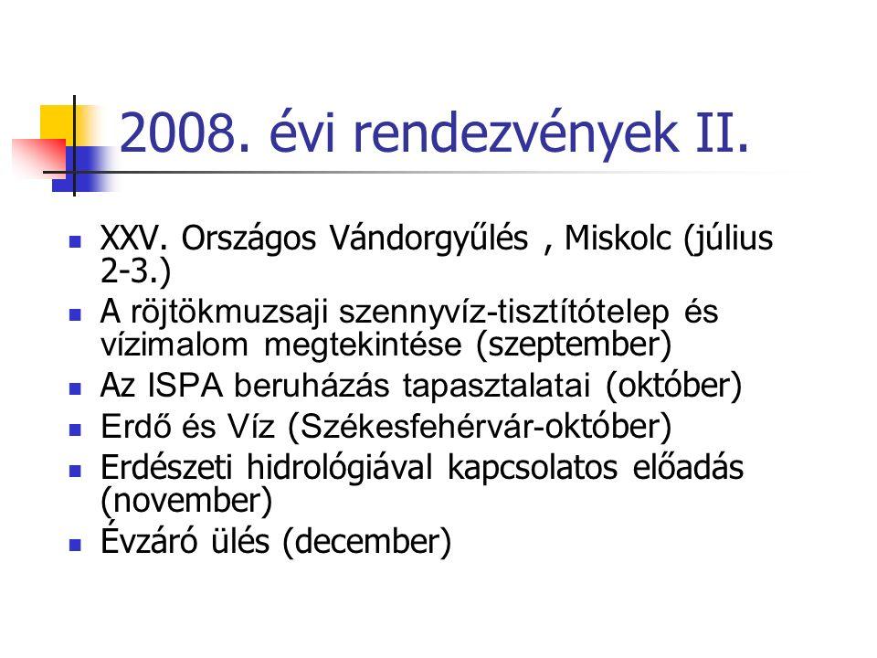 200 8. évi rendezvények II. XXV.