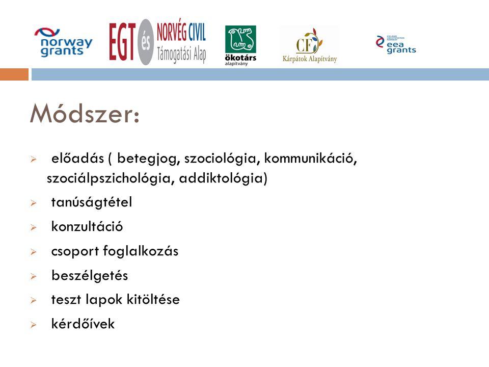 Módszer:  előadás ( betegjog, szociológia, kommunikáció, szociálpszichológia, addiktológia)  tanúságtétel  konzultáció  csoport foglalkozás  besz