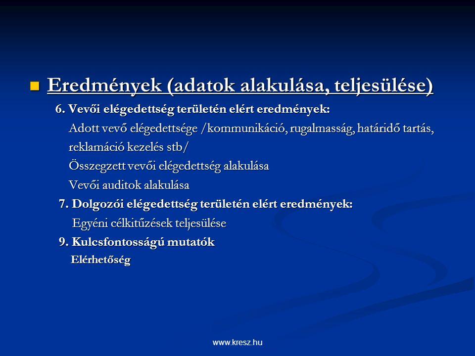 www.kresz.hu Eredmények (adatok alakulása, teljesülése) Eredmények (adatok alakulása, teljesülése) 6.
