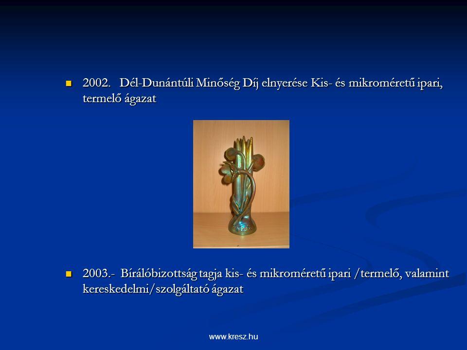 www.kresz.hu Adottságok (módszerek) Adottságok (módszerek) - ISO 14001:1997 szabvány kiépítése, bevezetése, működtetése (4.1) - ISO 14001:1997 szabvány kiépítése, bevezetése, működtetése (4.1) - ISO/TS 16949 szabvány kiépítési feltételeinek megteremtése, előkészítése - ISO/TS 16949 szabvány kiépítési feltételeinek megteremtése, előkészítése ( 4.2.országos finanszírozási pályázaton való részvétel) ( 4.2.országos finanszírozási pályázaton való részvétel) - Technológia, anyagmozgatás és kiszolgálás fejlesztése, autómatizálás(5.) - Technológia, anyagmozgatás és kiszolgálás fejlesztése, autómatizálás(5.) - Árajánlatok kiemelt kezelése (5.) - Árajánlatok kiemelt kezelése (5.) - Oktatási terv összeállítása (3.) - Oktatási terv összeállítása (3.) Vevő oktatáson való részvétel Vevő oktatáson való részvétel Minőségtechnikák és eszközök alkalmazásának fejlesztése, alkalmazása (5) Minőségtechnikák és eszközök alkalmazásának fejlesztése, alkalmazása (5) (FMEA, Control Plan, 8 D Report ) Ezt nem szabad .