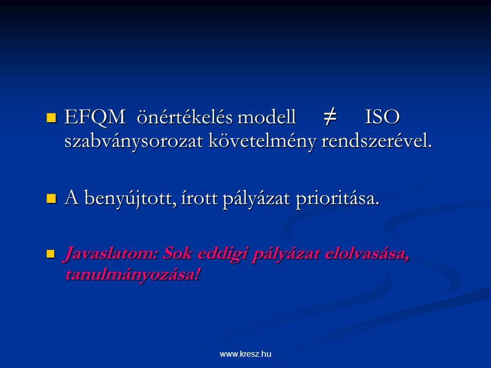 www.kresz.hu EFQM önértékelés modell ≠ ISO szabványsorozat követelmény rendszerével.