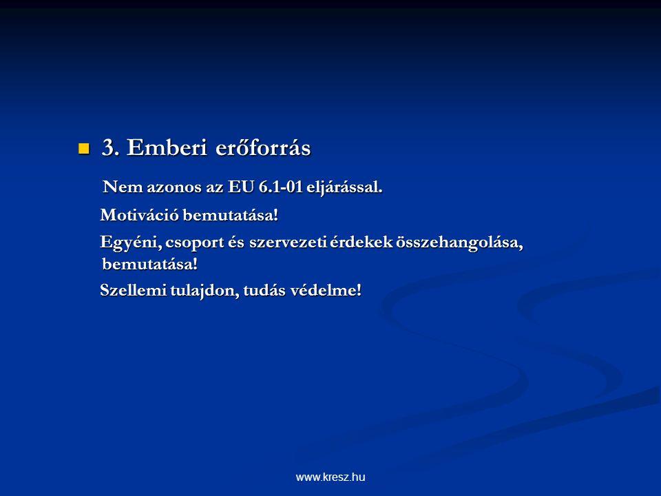 www.kresz.hu 3. Emberi erőforrás 3. Emberi erőforrás Nem azonos az EU 6.1-01 eljárással.