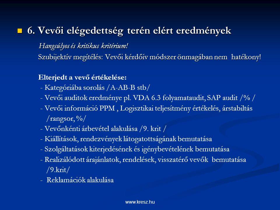 www.kresz.hu 6. Vevői elégedettség terén elért eredmények 6.