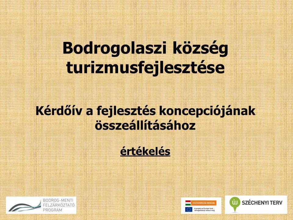 Bodrogolaszi község turizmusfejlesztése Kérdőív a fejlesztés koncepciójának összeállításához értékelés