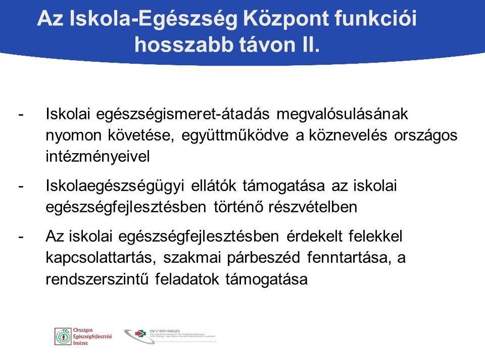 -Iskolai egészségfejlesztés megvalósulását támogató szakmai anyagok előállítása (l.
