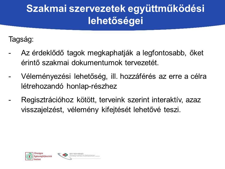 Tagság: -Az érdeklődő tagok megkaphatják a legfontosabb, őket érintő szakmai dokumentumok tervezetét.