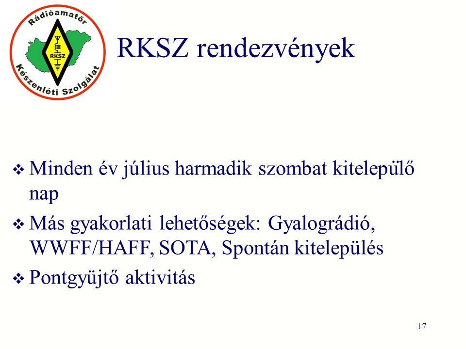 RKSZ rendezvények  Minden év július harmadik szombat kitelepu ̈ lő nap  Más gyakorlati lehetőségek: Gyalográdió, WWFF/HAFF, SOTA, Spontán kitelepülés  Pontgyüjtő aktivitás 17