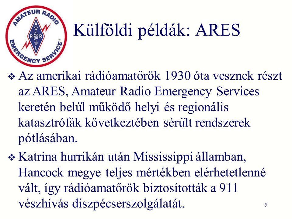 Külföldi példák: ARES  Az amerikai rádióamatőrök 1930 óta vesznek részt az ARES, Amateur Radio Emergency Services keretén belu ̈ l működő helyi és regionális katasztrófák következtében séru ̈ lt rendszerek pótlásában.