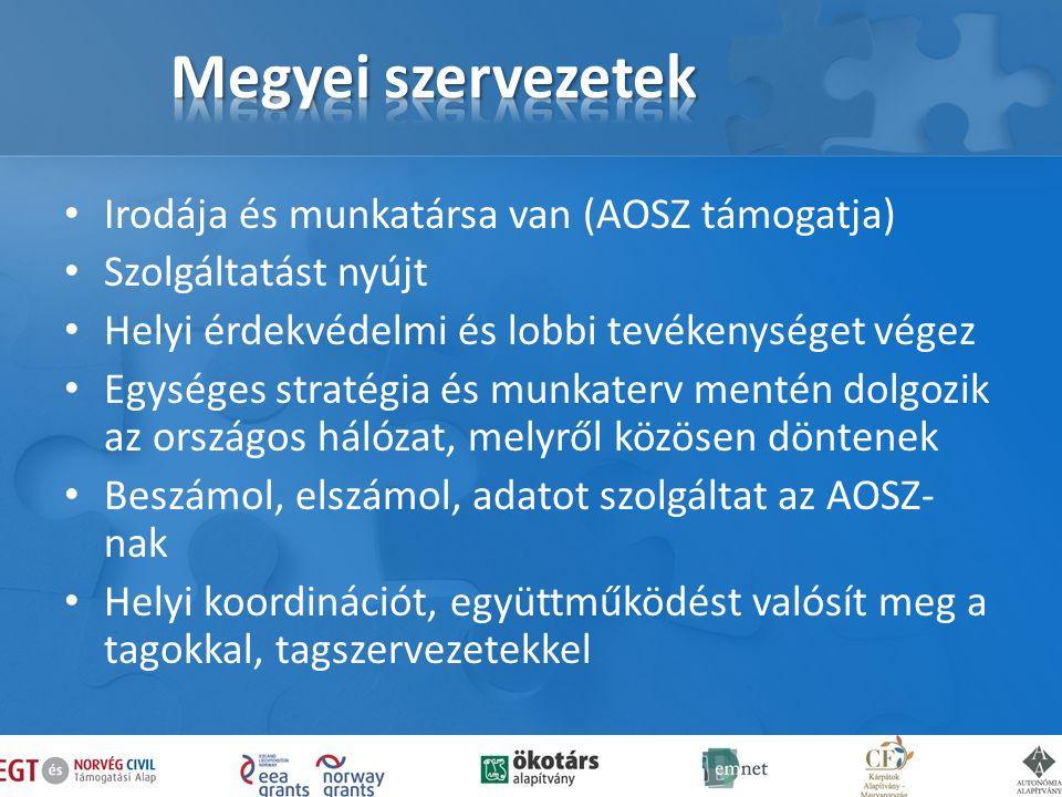 Irodája és munkatársa van (AOSZ támogatja) Szolgáltatást nyújt Helyi érdekvédelmi és lobbi tevékenységet végez Egységes stratégia és munkaterv mentén dolgozik az országos hálózat, melyről közösen döntenek Beszámol, elszámol, adatot szolgáltat az AOSZ- nak Helyi koordinációt, együttműködést valósít meg a tagokkal, tagszervezetekkel