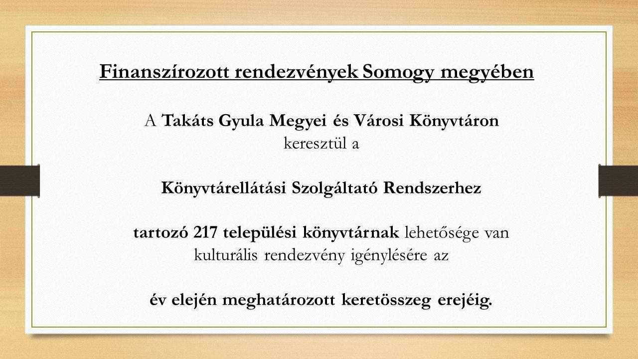 A Takáts Gyula Megyei és Városi Könyvtáron keresztül a Könyvtárellátási Szolgáltató Rendszerhez tartozó 217 települési könyvtárnak lehetősége van kulturális rendezvény igénylésére az év elején meghatározott keretösszeg erejéig.
