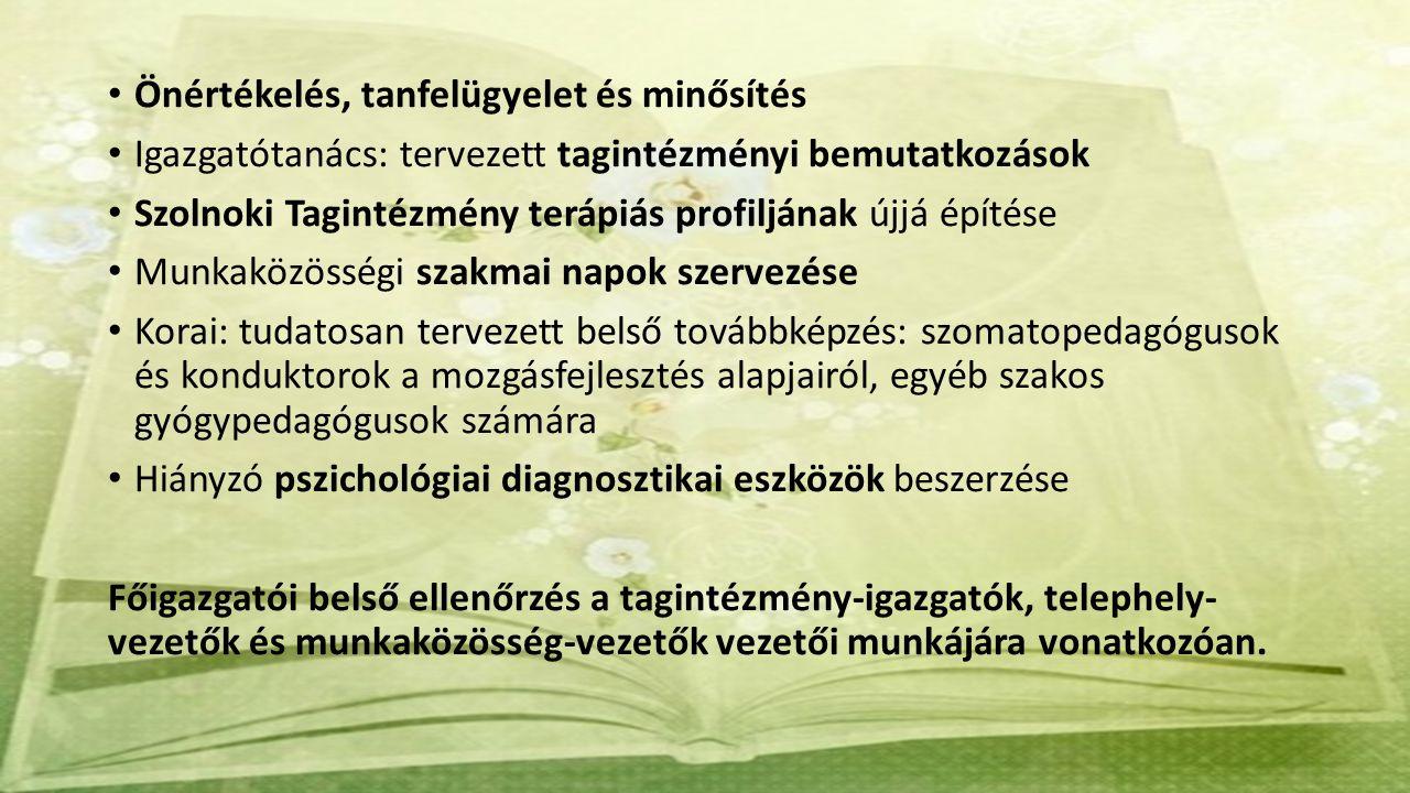 Önértékelés, tanfelügyelet és minősítés Igazgatótanács: tervezett tagintézményi bemutatkozások Szolnoki Tagintézmény terápiás profiljának újjá építése