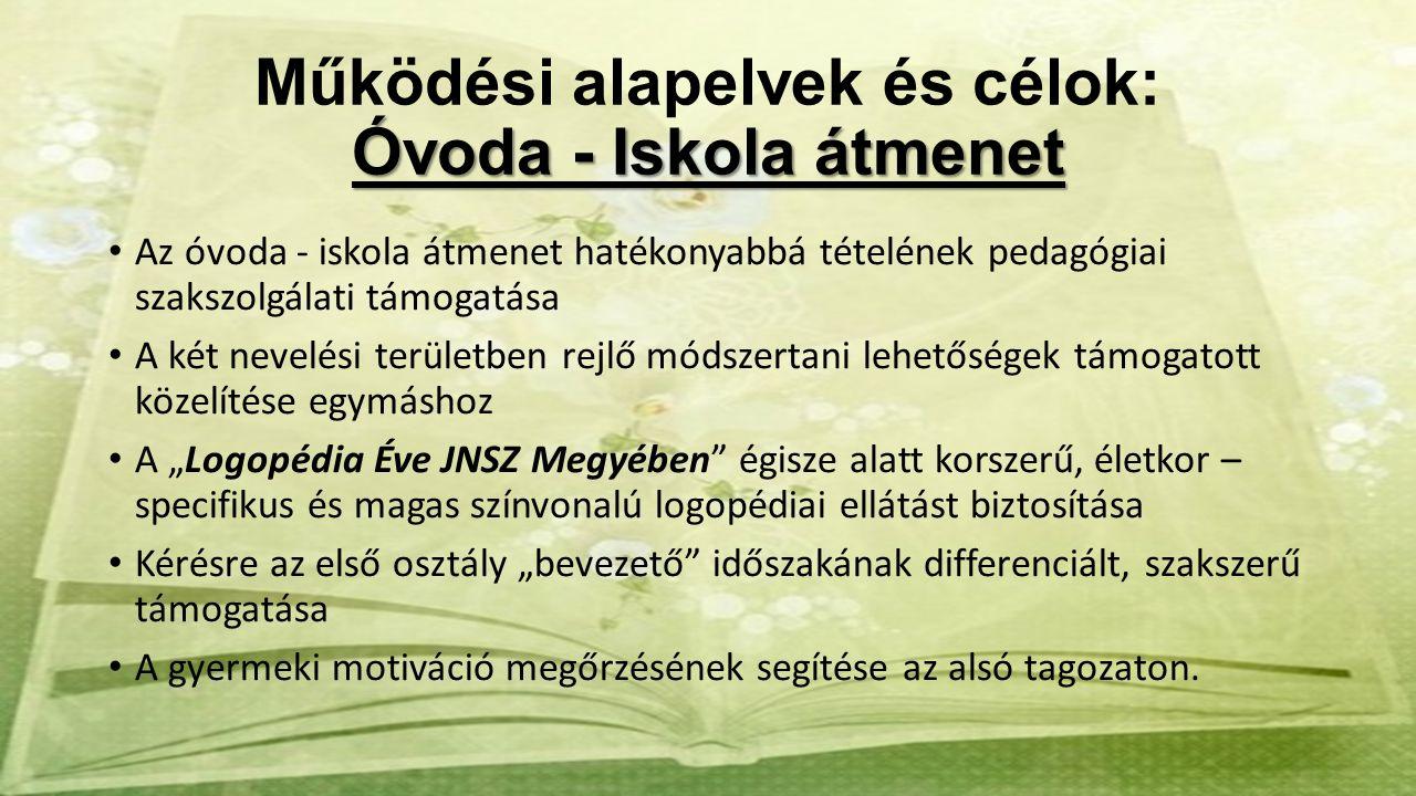 Óvoda - Iskola átmenet Működési alapelvek és célok: Óvoda - Iskola átmenet Az óvoda - iskola átmenet hatékonyabbá tételének pedagógiai szakszolgálati