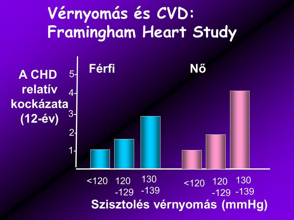 1- 2- 3- 4- 5- <120120 -129 130 -139 Szisztolés vérnyomás (mmHg) A CHD relatív kockázata (12-év) FérfiNő Vérnyomás és CVD: Framingham Heart Study 120 -129 130 -139 <120