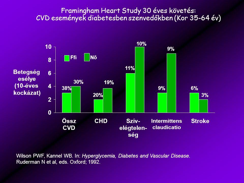 Framingham Heart Study 30 éves követés: CVD események diabetesben szenvedőkben (Kor 35-64 év) 10% 9% 20% 11% 9%6%38% 19% 3% 30% 0 2 4 6 8 10 FfiNő Össz CVD CHDSzív- elégtelen- ség Intermittens claudicatio Stroke Betegség esélye (10-éves kockázat) Wilson PWF, Kannel WB.
