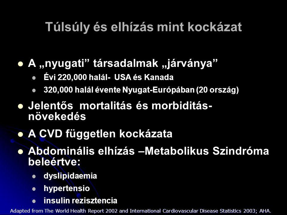 """Túlsúly és elhízás mint kockázat A """"nyugati társadalmak """"járványa Évi 220,000 halál- USA és Kanada 320,000 halál évente Nyugat-Európában (20 ország) Jelentős mortalitás és morbiditás- növekedés A CVD független kockázata Abdominális elhízás –Metabolikus Szindróma beleértve: dyslipidaemia hypertensio insulin rezisztencia Adapted from The World Health Report 2002 and International Cardiovascular Disease Statistics 2003; AHA."""