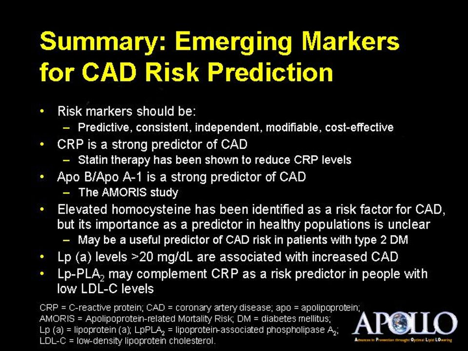 Summary: Emerging Markers for CAD Risk Prediction