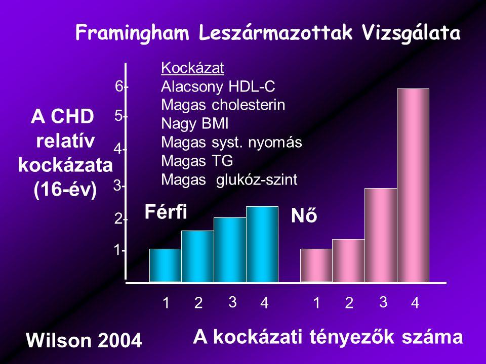 1- 2- 3- 4- 5- 6- 12 3 412 3 4 A kockázati tényezők száma A CHD relatív kockázata (16-év) Férfi Nő Kockázat Alacsony HDL-C Magas cholesterin Nagy BMI Magas syst.