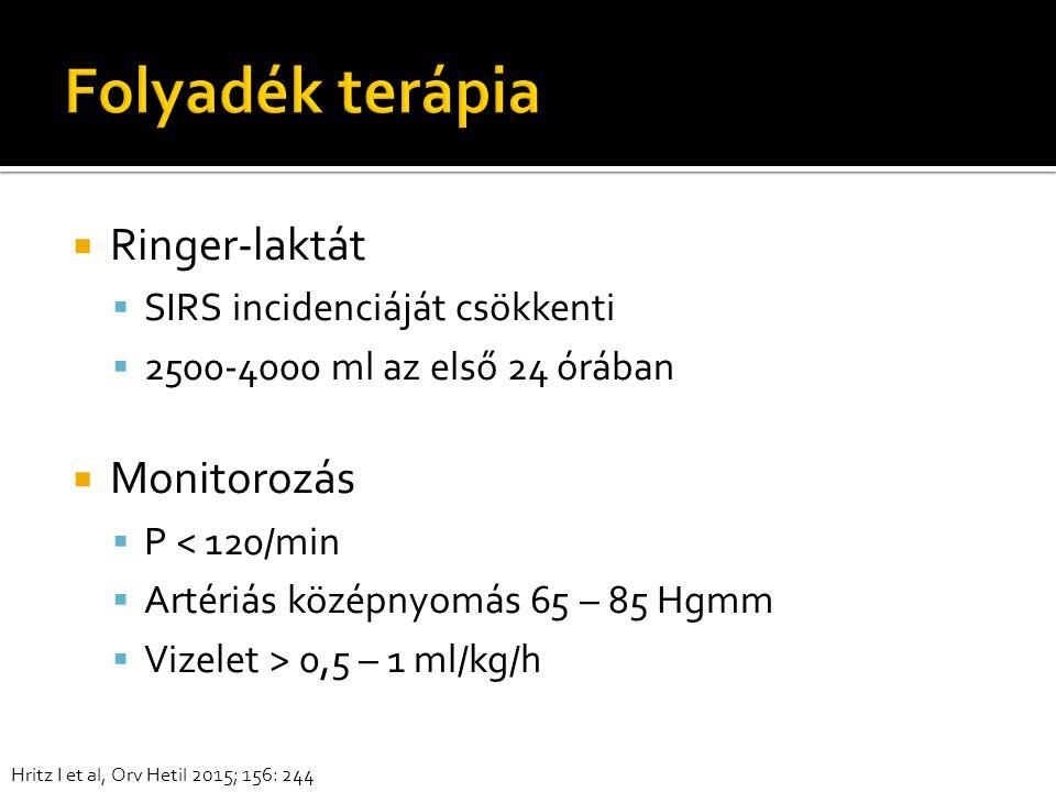  Ringer-laktát  SIRS incidenciáját csökkenti  2500-4000 ml az első 24 órában  Monitorozás  P < 120/min  Artériás középnyomás 65 – 85 Hgmm  Vizelet > 0,5 – 1 ml/kg/h Hritz I et al, Orv Hetil 2015; 156: 244