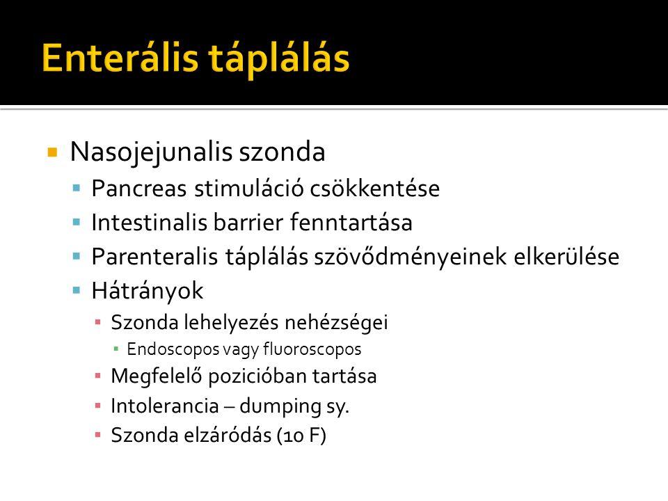  Nasojejunalis szonda  Pancreas stimuláció csökkentése  Intestinalis barrier fenntartása  Parenteralis táplálás szövődményeinek elkerülése  Hátrá