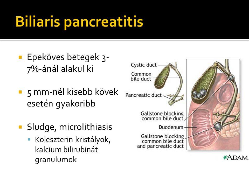  Epeköves betegek 3- 7%-ánál alakul ki  5 mm-nél kisebb kövek esetén gyakoribb  Sludge, microlithiasis  Koleszterin kristályok, kalcium bilirubiná