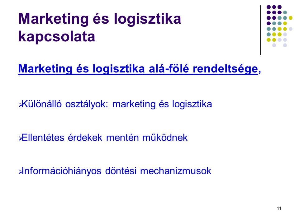 11 Marketing és logisztika kapcsolata Marketing és logisztika alá-fölé rendeltsége,  Különálló osztályok: marketing és logisztika  Ellentétes érdekek mentén működnek  Információhiányos döntési mechanizmusok