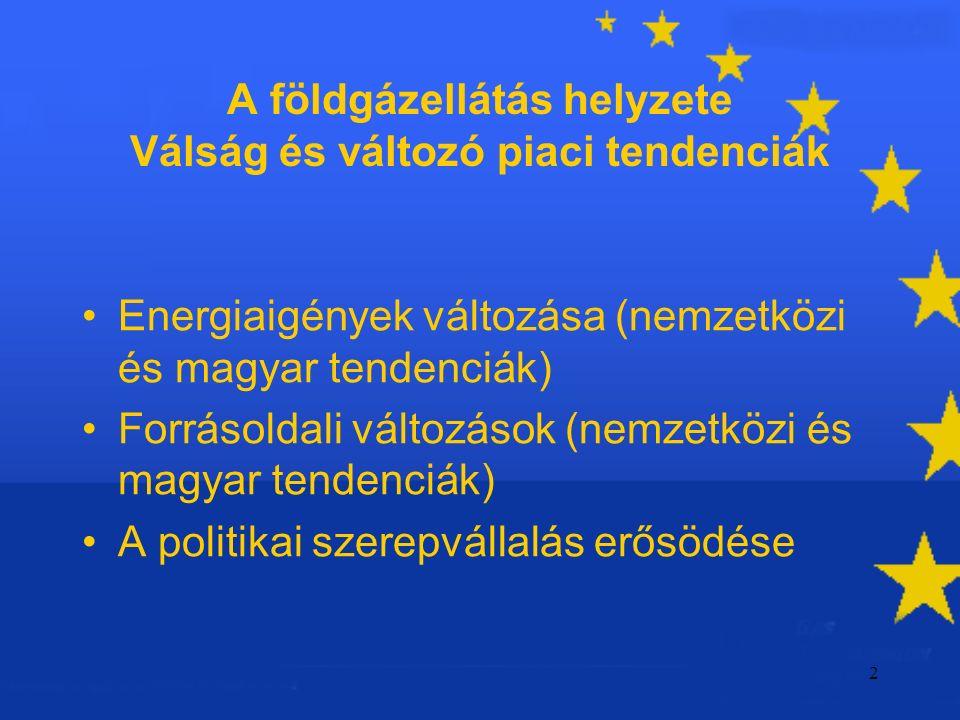 2 A földgázellátás helyzete Válság és változó piaci tendenciák Energiaigények változása (nemzetközi és magyar tendenciák) Forrásoldali változások (nemzetközi és magyar tendenciák) A politikai szerepvállalás erősödése