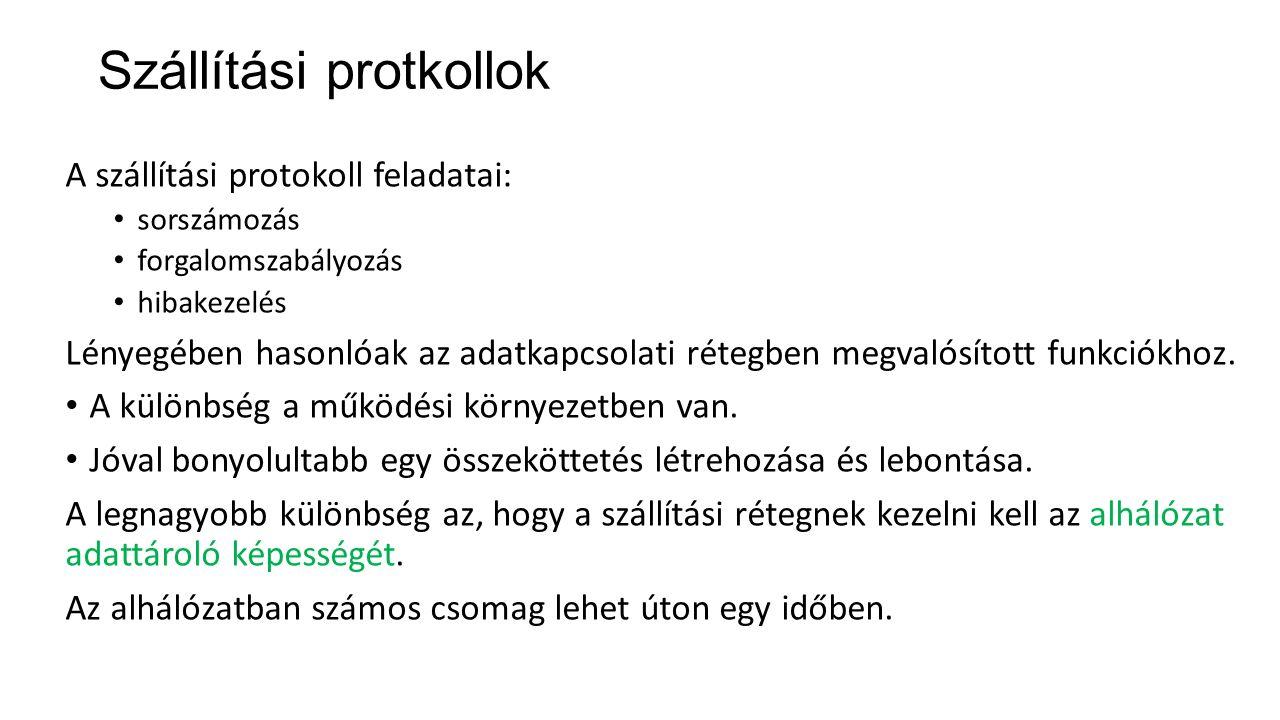Szállítási protkollok A szállítási protokoll feladatai: sorszámozás forgalomszabályozás hibakezelés Lényegében hasonlóak az adatkapcsolati rétegben me